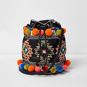 Black leather embellished duffle bag