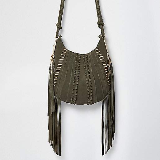 Khaki green suede fringe cross body bag
