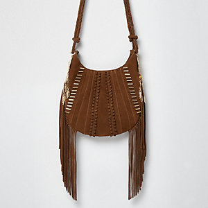 Brown suede fringe cross body bag