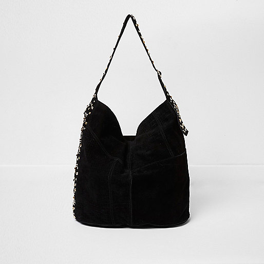 Black suede studded underarm slouch bag