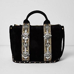 Schwarze, verzierte Wildledertasche