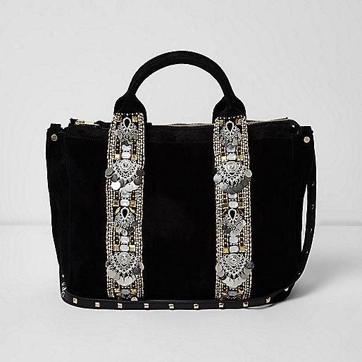 Black suede embellished bowler bag