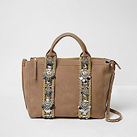 Cream suede embellished bowler bag