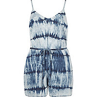 Blue tencel tie dye cami playsuit