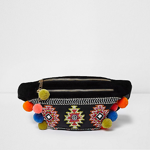 Black leather embellished pom pom bumbag
