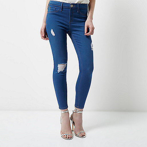 Dark blue ripped Molly jeggings