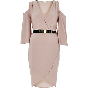 Light pink belted cold shoulder bodycon dress