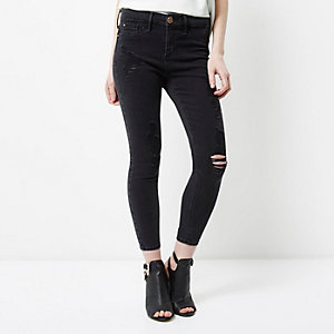 Petite black Molly ripped jeggings