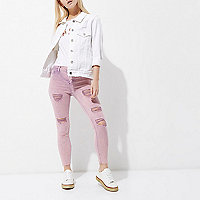 Petite pink acid wash Molly ripped jeggings