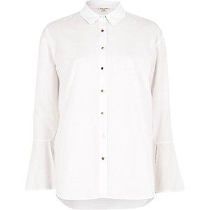 White flute sleeve shirt