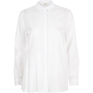 White pleated panel shirt