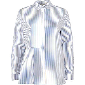 Blue stripe print pleated shirt