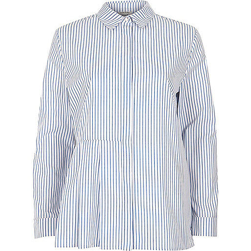 Blue stripe print pleated shirt