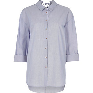 Blue strip cut out back oversized shirt