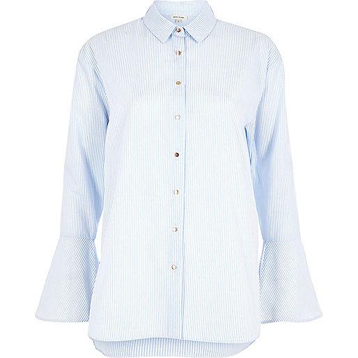 Blue stripe print flute sleeve shirt