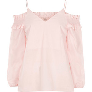 Light pink shirred cold shoulder top