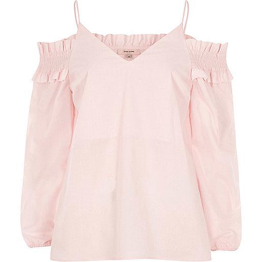 Light pink shirred cold shoulder top