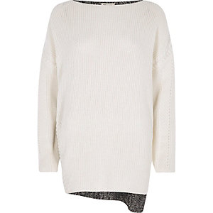 Cream eyelet detail color block sweater
