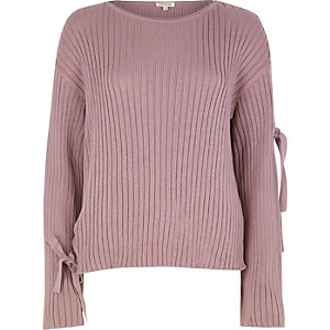 Purple ribbed knit eyelet tie sleeve sweater