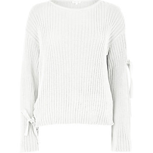 Cream tie long sleeve knit sweater