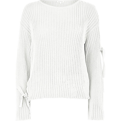 Cream tie long sleeve knit jumper