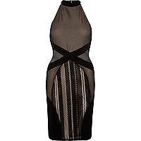 Bodycon-Kleid in Schwarz und Nude