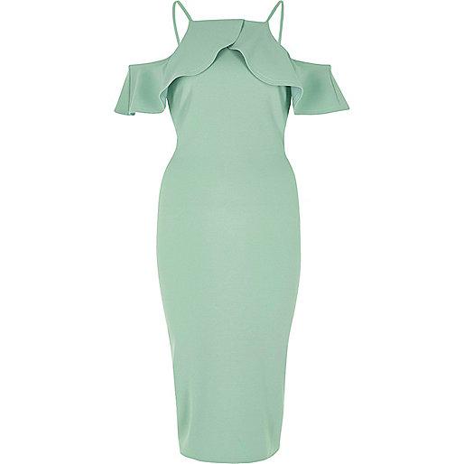 Green frill cold shoulder bodycon midi dress