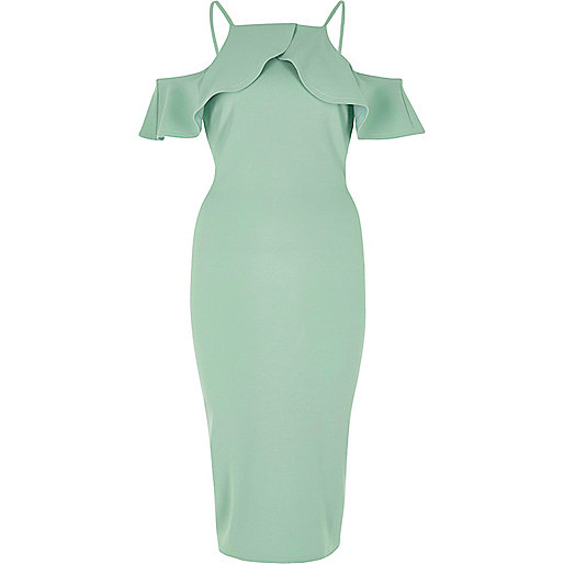 Green frill cold shoulder bodycon midi dress