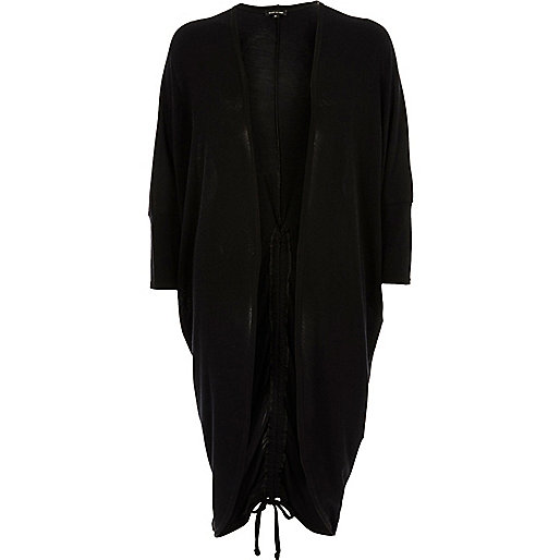 Black knit ruched back longline cardigan