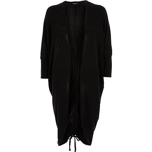 Black knit ruched back longline cardigan