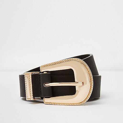 Black gold tone western buckle belt
