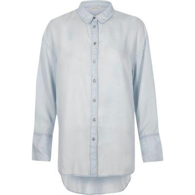 Blauw lang overhemd met lange mouwen