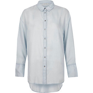 Blue long sleeve longline shirt