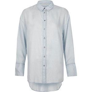 Chemise longue bleue à manches longues