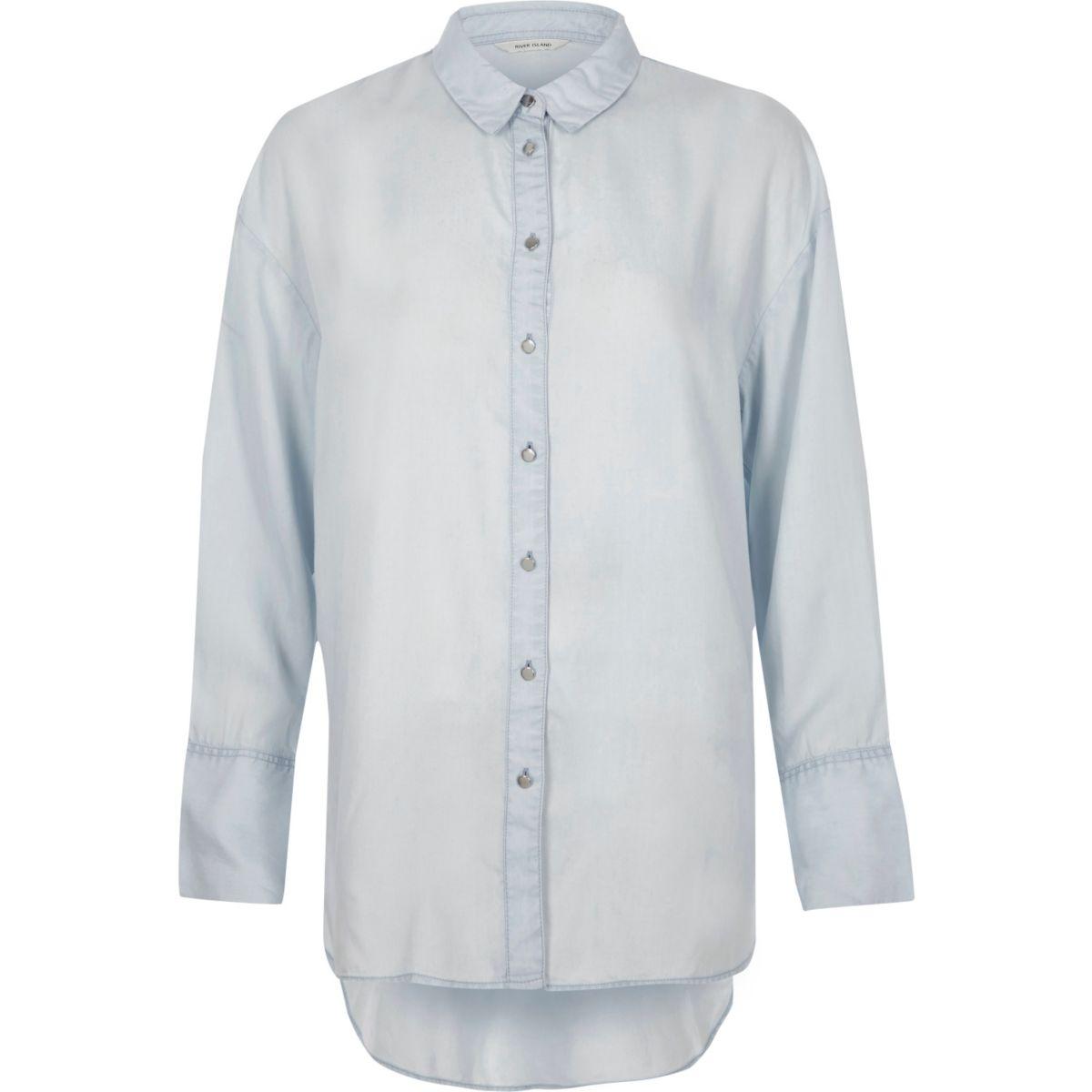 Blue long sleeve longline shirt