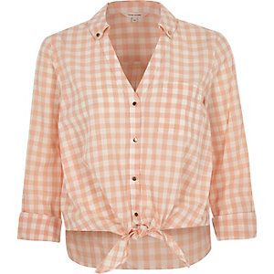 Orange gingham print tie front cropped shirt
