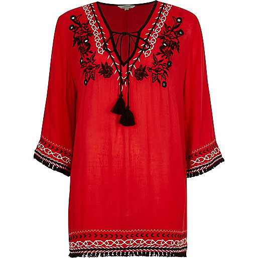 Red embroidered smock top