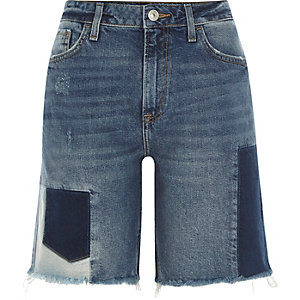 Middenblauwe denim boyfriend short met patchwork