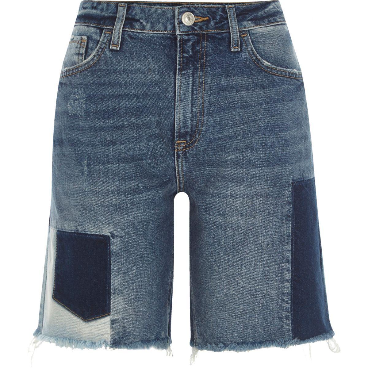 Mid blue patchwork denim boyfriend shorts