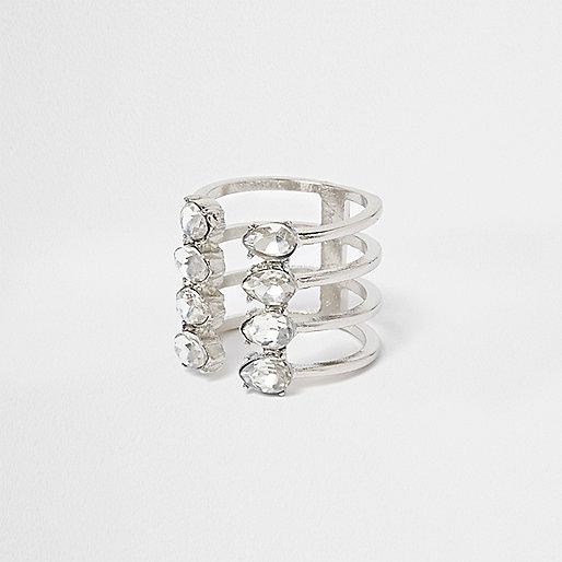 Silver tone diamante open ring