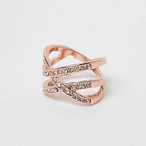 Rose gold tone rhinestone encrusted cross ring
