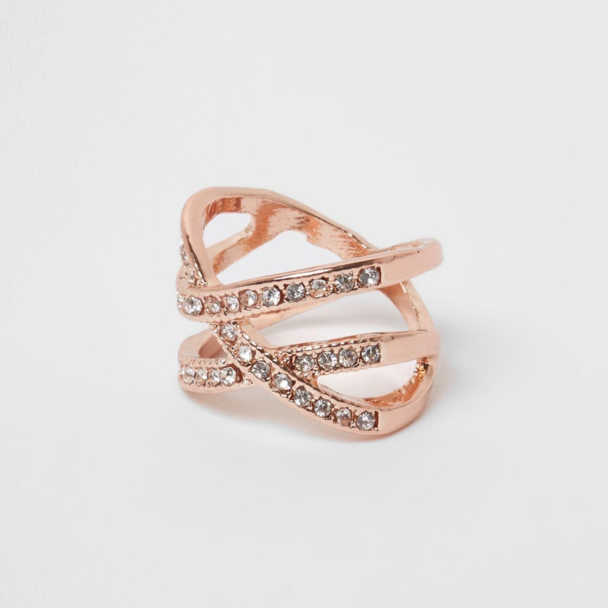 Rose gold tone diamante encrusted cross ring