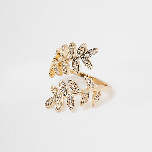 Gold tone wrap leaf ring