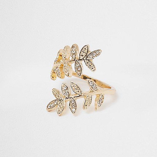 Gold tone wrap leaf ring