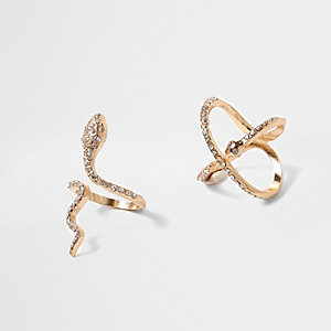 Gold tone diamante snake ring pack