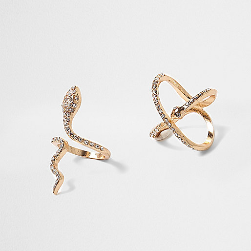 Gold tone rhinestone snake ring pack