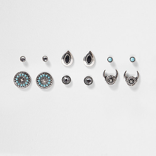 Silver tone turquoise stone earrings pack