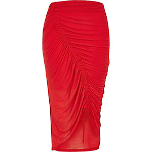 Coral asymmetric ruched jersey pencil skirt
