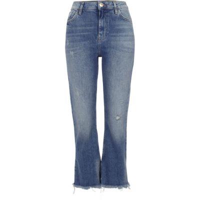 Blauwe distressed cropped wijduitlopende jeans