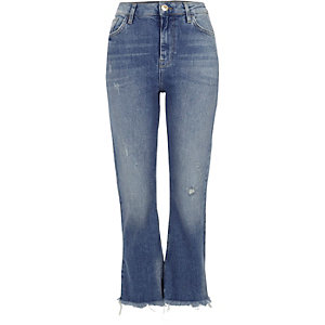 Blauwe distressed cropped wijduitlopende jeans
